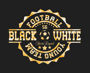 `football youth team`,  `black and white` typography, tee shirt print