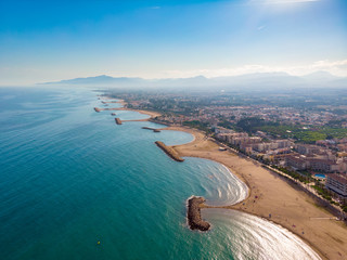 View of the coastline Costa Dourada, Catalonia, Spain. Drone aerial photo