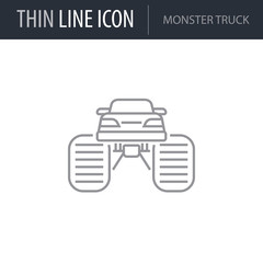 Symbol of Monster Truck. Thin line Icon of Transportation. Stroke Pictogram Graphic for Web Design. Quality Outline Vector Symbol Concept. Premium Mono Linear Beautiful Plain Laconic Logo