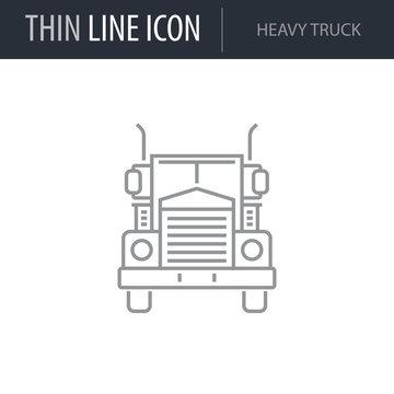 Symbol of Heavy Truck. Thin line Icon of Transportation. Stroke Pictogram Graphic for Web Design. Quality Outline Vector Symbol Concept. Premium Mono Linear Beautiful Plain Laconic Logo