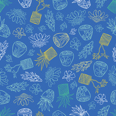 Vector blue tropical pattern with ginger flowers, basket plants and bali style ceramic pots. Perfect for fabric, scrapbooking, wallpaper projects.