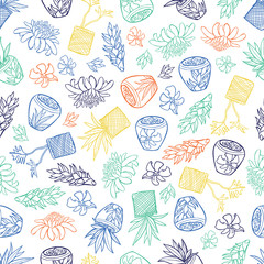 Vector white tropical pattern with ginger flowers, basket plants and bali style ceramic pots. Perfect for fabric, scrapbooking, wallpaper projects.