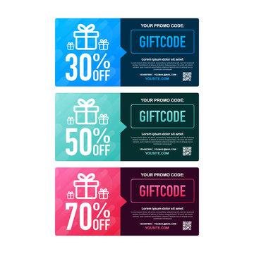 Template red and blue gift card. Promo code. Vector Gift Voucher with Coupon Code. Vector stock illustration.