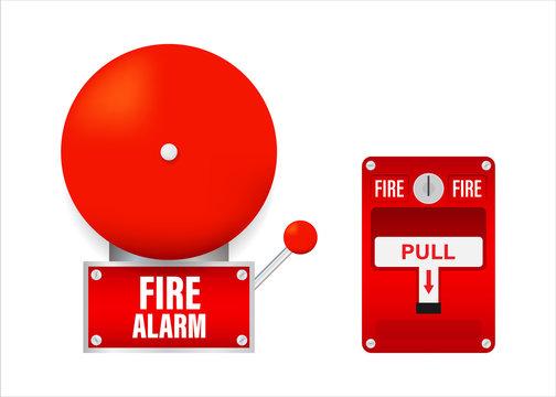 Fire alarm system. Fire equipment. Vector stock illustration