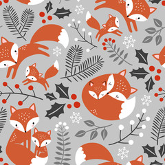 Seamless vector pattern with cute hand drawn fox family and leaves.