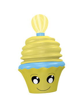 lustiges Cupcake Emoticon im Kawaii Stil mit Glühbirne.
