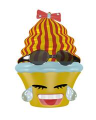 Tränen lachendes Cupcake Emoticon im Kawaii Stil mit Sonnenbrille.