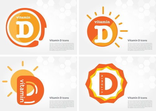 Vitamin D sun shining pill capsule icon collection black set, cholecalciferol. golden Vitamin complex with Chemical formula substance drop. Medical for heath Vector illustration