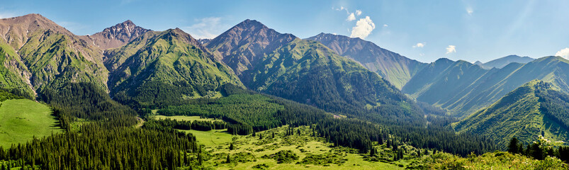 Panorama of the mountain valley in the summer. Amazing nature, mountains, lit by the sun in clear weather, summer in the mountains. Travel, tourism, beautiful background, a picture of nature