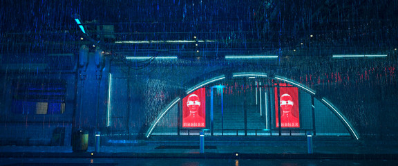 3d illustration of a rainy night scene in a style of cyberpunk. Red neon billboards with cyborg figure and russian translation of text
