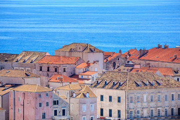 Buildings with the Sea in the background in Dubrovnik, Dalmatia, Croatia