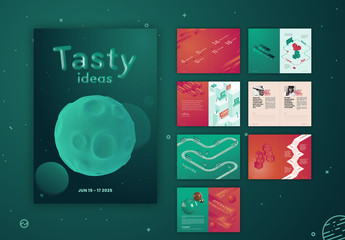 Brochure Layout with Illustrations and Red and Blue Accents