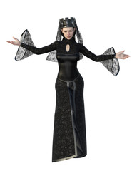 Evil queen in black dress and head piece. 3d renderings. 3d illustrations.