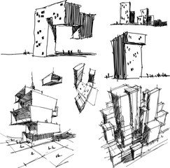 six hand drawn architectectural sketches of a modern abstract architecture