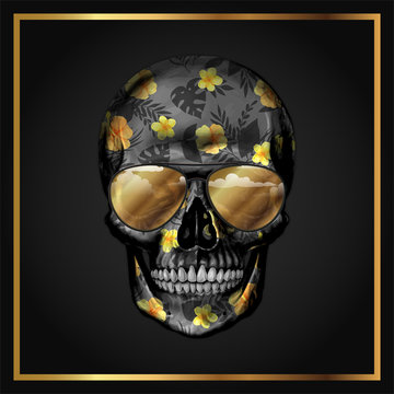 Black and Golden Flowered Skull