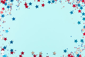 4th of July American Independence Day. Happy Independence Day, decorations on blue background. Flat lay, top view, copy space