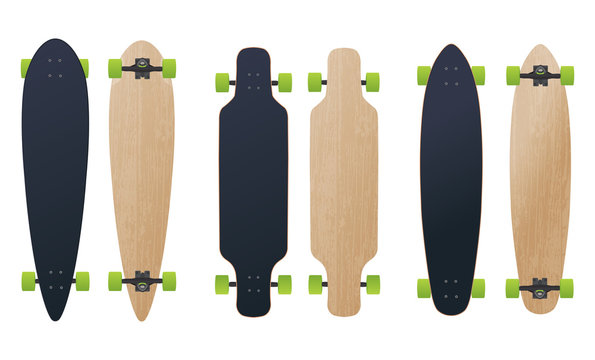 blank different longboard skateboard model vector