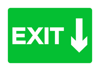 Exit Emergency Green Sign Isolate On White Background,Vector Illustration EPS.10 Wall mural