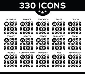 Pack of 330 icons with 15 different categories vector collection icon.