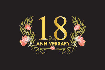 18 Years anniversary gold watercolor wreath vector