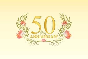 50 Years anniversary gold watercolor wreath vector
