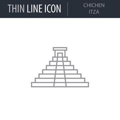 Symbol of Chichen Itza. Thin line Icon of Landmark Set. Stroke Pictogram Graphic for Web Design. Quality Outline Vector Symbol Concept. Premium Mono Linear Beautiful Plain Laconic Logo