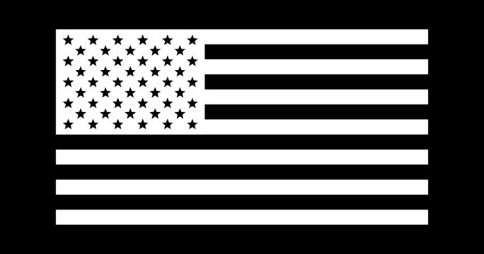 USA American flag, black and white, vector illustration.