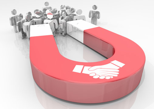 Handshake Agreement Shaking Hands Magnet Deal Attracting People Customers 3d Illustration