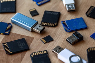A bunch of memory cards