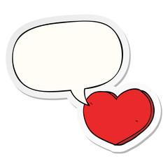 cartoon love heart and speech bubble sticker