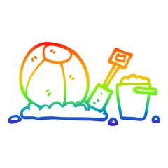 rainbow gradient line drawing cartoon beach objects