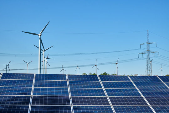 Solar panels, wind turbines and overhead power lines seen in Germany