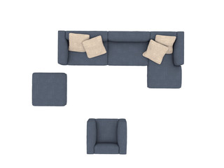 Modern blue sofa with chair top view paths selection