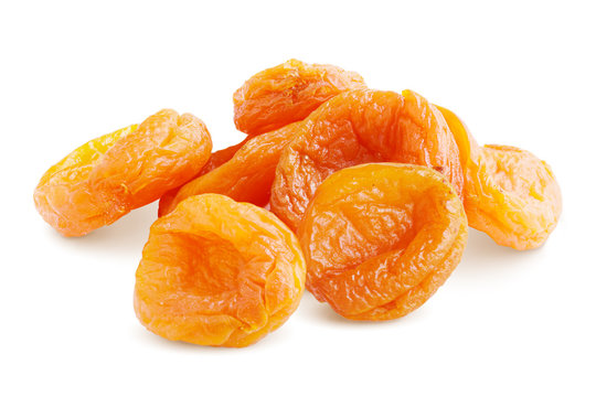 Dried Apricots. Pile of Sweet  Dried Apricots Isolated on White. Full Depth of Field
