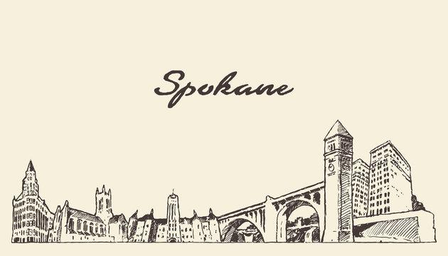 Spokane skyline Washington United States a vector