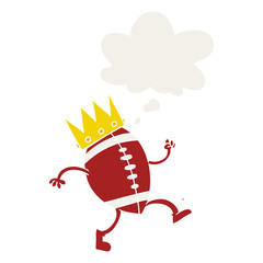 football with crown cartoon  and thought bubble in retro style