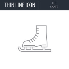 Symbol of Ice Skate. Thin line Icon of Merry Christmas. Stroke Pictogram Graphic for Web Design. Quality Outline Vector Symbol Concept. Premium Mono Linear Beautiful Plain Laconic Logo