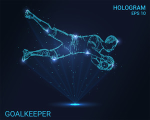 Hologram goalkeeper. Football goalkeeper catches the ball. Flickering energy flux of particles. Scientific sports design.