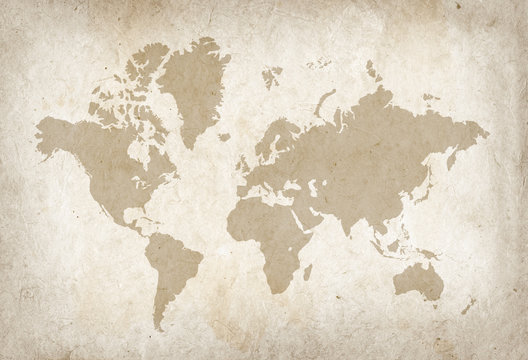 Vintage world map on old parchment paper