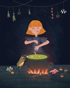Little witch cooks candy on an open fire in the witches pot. Funny Rastered cartoon character illustration with cute frog. Halloween invitation