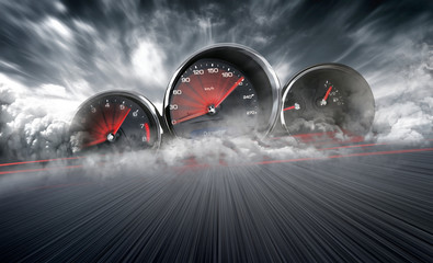 Speedometer scoring high speed in a fast motion blur racetrack background. Speeding Car Background...