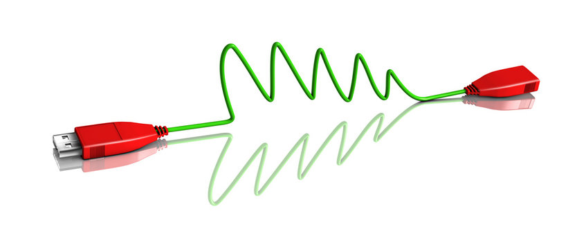 Green USB cable on a white background with red plugs forming a Christmas tree together with its reflection.