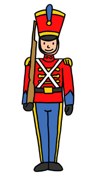 Hand drawn vector illustration of retro vintage style toy soldier cartoon isolated on white background