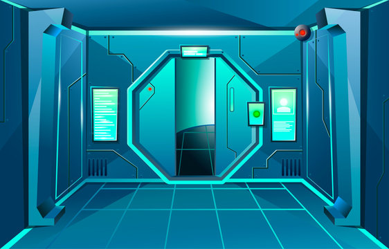 Hallway in spaceship with open door and camera . Futuristic interior room. Background for games and mobile applications. Vector cartoon background