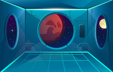 Hallway with big porthole in spaceship. Moon and mars planet in viewport. Futuristic interior room. Background for games and mobile applications. Vector cartoon background