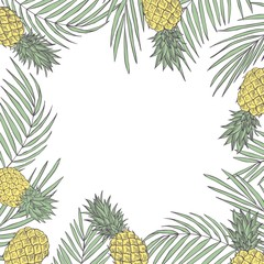 Vector background  with hand drawn tropical plants. Monstera plant.