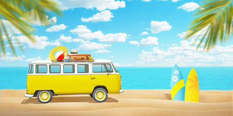 Old van and surfboards on beach sand. Concept of summer travel and enjoying the sport. Palm trees...