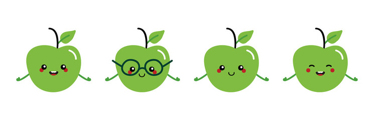 Set, collection of cute and happy cartoon style green apple characters for healthy food, vegan and cooking design.