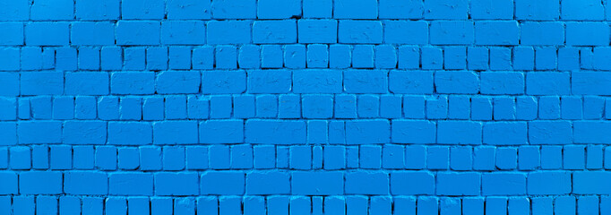 Fotobehang - Panoramic texture of blue old brick wall, brickwork background for design or backdrop