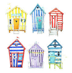 Set of hand painted, colorful watercolor beach huts